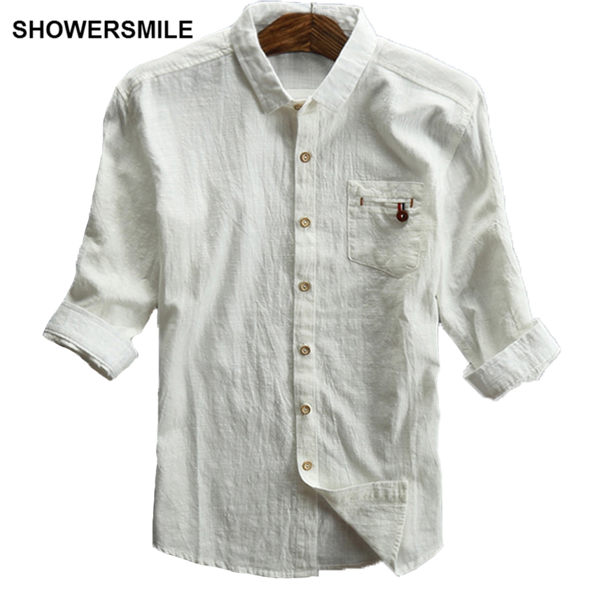 bd291176e76 US $27.99 30% OFF|SHOWERSMILE Off Wit Linnen Shirts Mannen Plus Size Casual  Half Mouwen Vlas Linnen Stof Mannen Shirt 5xl Regular Fit Man kleding in ...