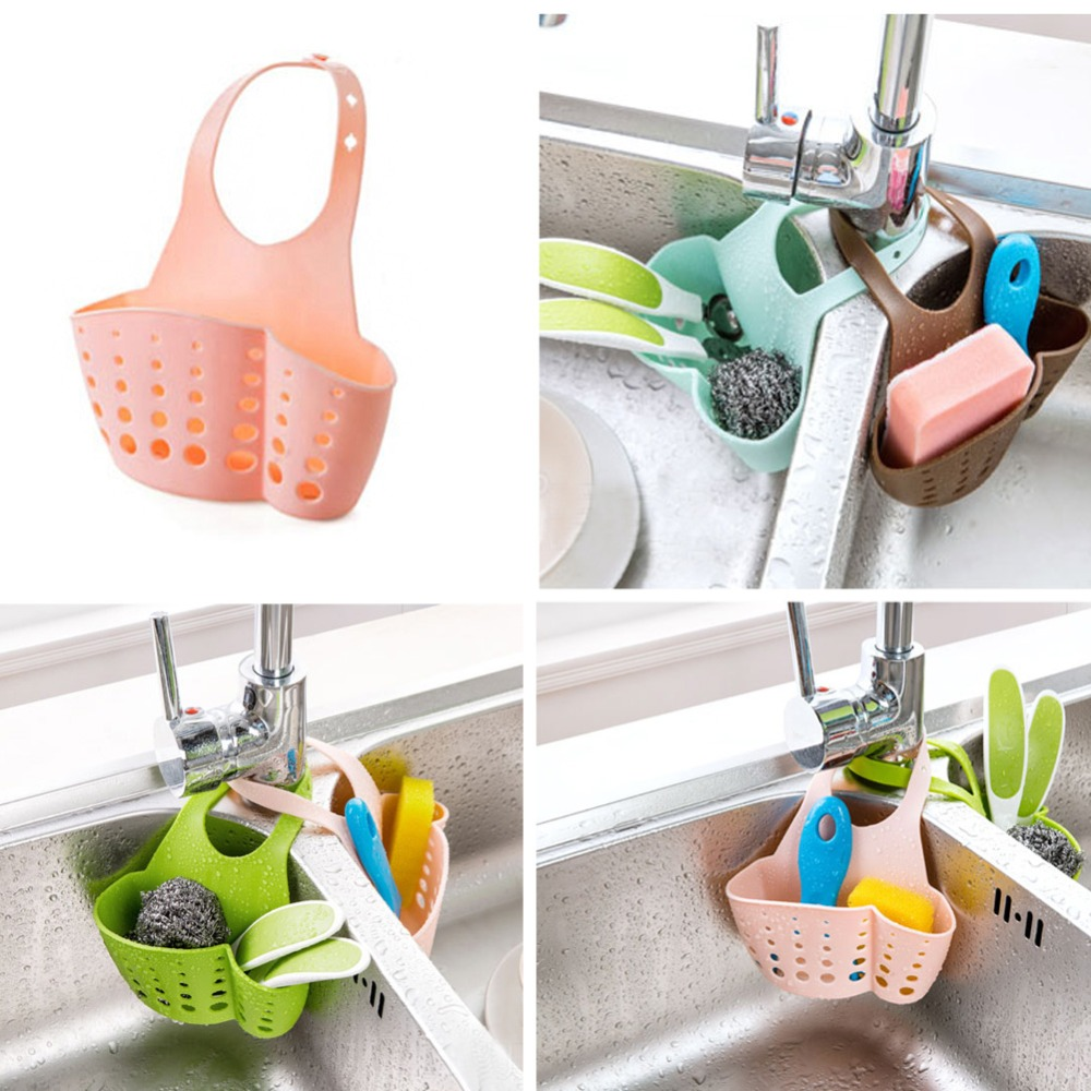 Kitchen Plastic Sink Shelving Bag Dish Cloths Rack Suction Sponge Hanging Drain Holder Faucet Soap Dish Rack