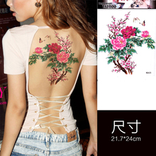 Chinese Floral Large Back Body Art Waterproof Temporary Tattoos for Women Individuality Flower Design Tattoo Sticker Wholesale