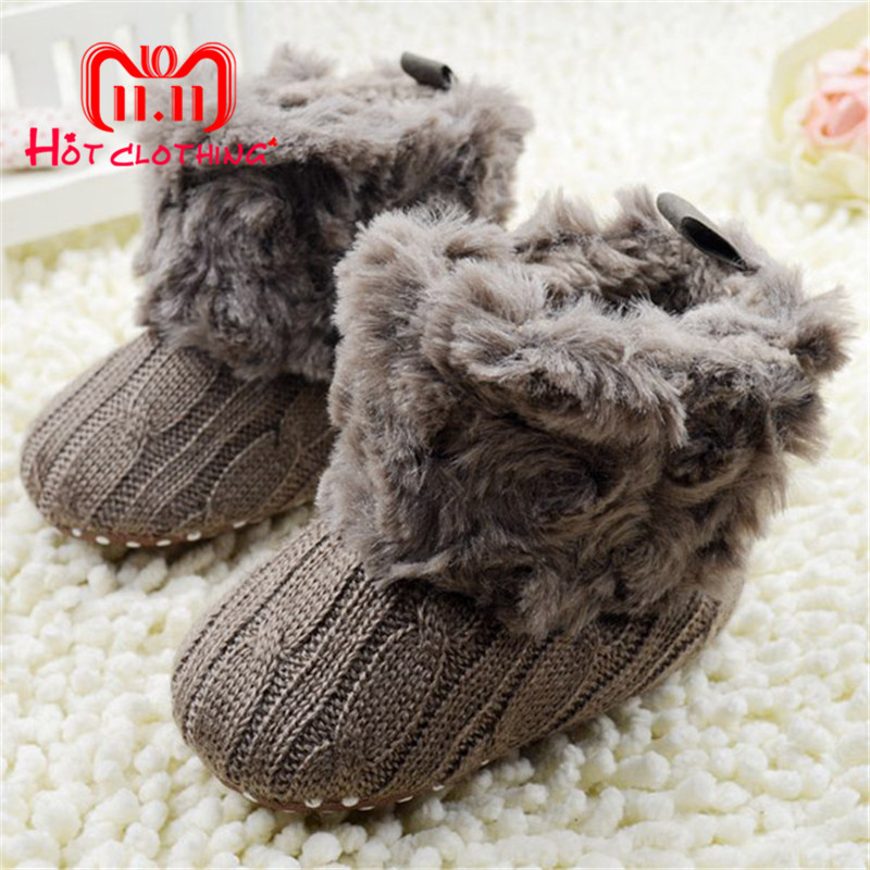 Winter Warm Baby Ankle Snowboots Infant Crochet Knit Fleece Baby Shoes For Boys Girls Shoes paul frank baby boys supper julius fleece hoodie