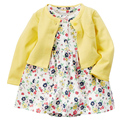 1 Set Yellowe Floral Cotton Baby Girl Dress Newborn Children Kid Infant Princess Summer Flower Toddler Cardigan Wear Clothes