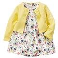 1 Unidades Yellowe Floral Vestido Del Algodón del Bebé Recién Nacido Niños Infante Princesa Verano Flor Niño Cardigan Ropa Desgaste