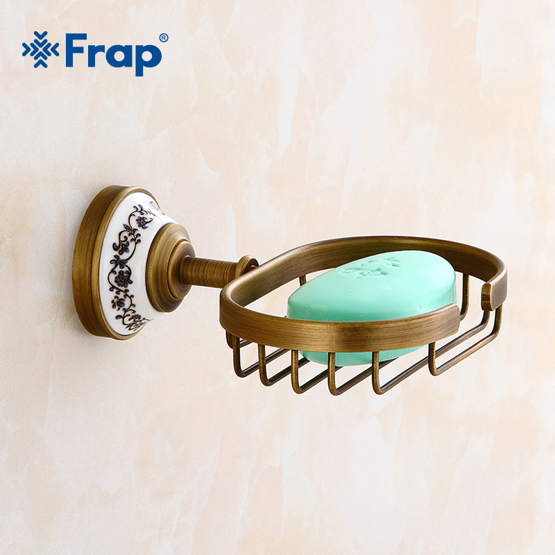 FRAP Household Vintage Soap Dishes Brass Soap Holder soap Dish Drainer Bathroom Copper Soap Basket Bath Hardware Set Tray Y18027 chinese food dishes book delicious cold dishes tasty dish recipes daquan