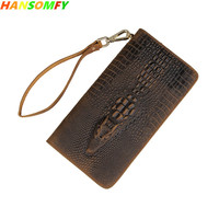 Genuine Leather Men Wallets top layer leather clutch bag crazy horse skin vintage crocodile pattern card holder Brown Coin Purse