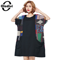 Oladivi Oversized Plus Size Women Clothing Fashion Print Casual T Shirt Short Sleeve Loose Tops Tees
