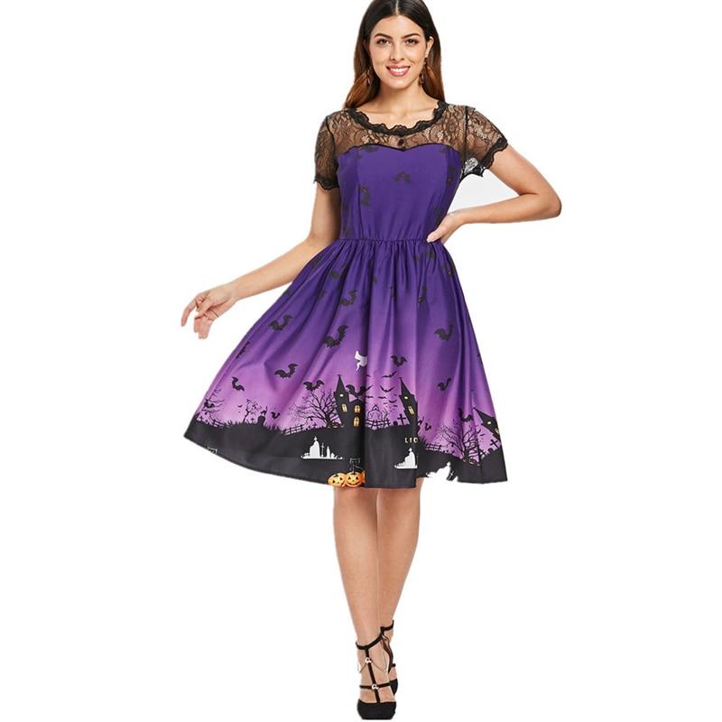 Sexy Halloween Party Costume Women Short Sleeve Retro Lace Patchwork Dress A Line Pumpkin Swing Dress party supplies