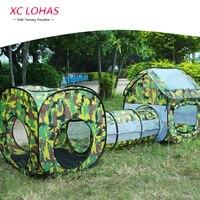 230 см * 70 см * 85 см, детский туннель палатка для игр, игровая палатка для детей камуфляжной раскраски, водонепроницаемый детский игровой тонне...