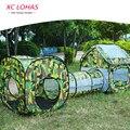 3 en 1 servicio de Transporte de Camuflaje Juguete Túnel Carpa Impermeable Bebé Casa de Juegos Para Niños Carpa Túnel Juguetes para Niños 230*70*85 cm Envío Rápido