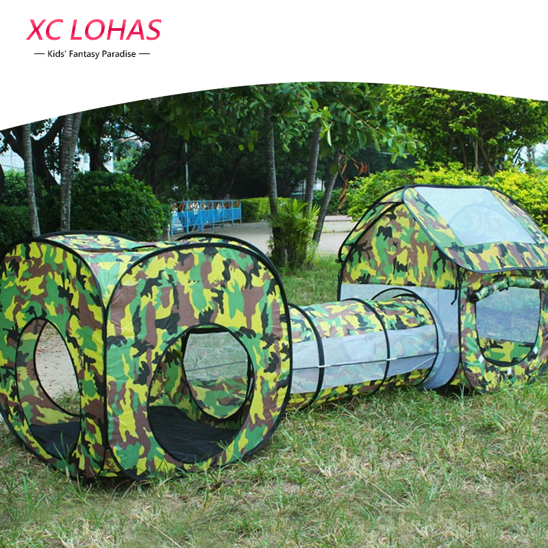 3 in 1 Camouflage Tent Tunnel Shuttle Toy Waterproof Baby Playhouse Kids Tent Tunnel Toys for Children 230*70*85cm Fast Shipping
