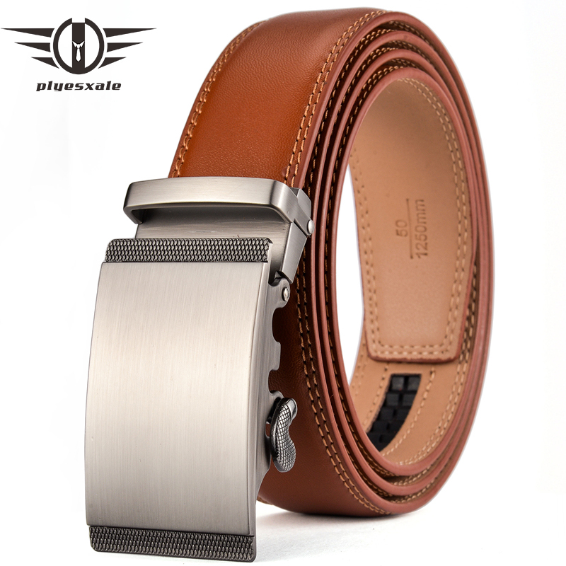 Plyesxale Luxury Designer Leather Man Belt Top Quality Ratchet Belt Strap Automatic Brown Mens Belts Cowhide Dropshipping G67