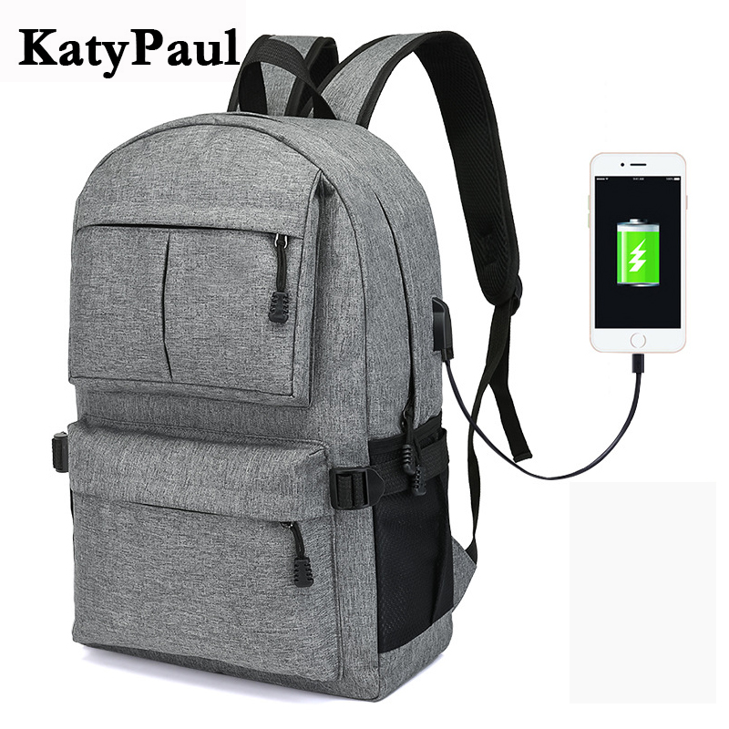 KatyPaul New Men's Casual Waterproof Functional Backpacks Antitheft USB Charge  Large Capacity Travel Rucksack Laptop Mochila functional capacity of mango leave extracts