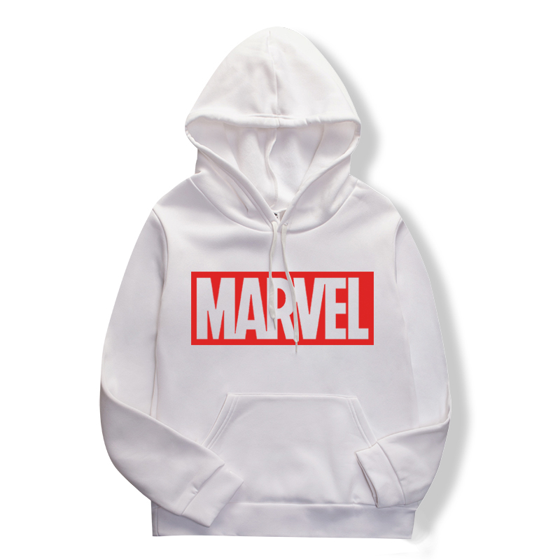 Spring/summer 2019 Pullover Women's Loose-fitting Hoodie Fashion Solid Color Marvel Sweatshirt Hoodie  Off  White