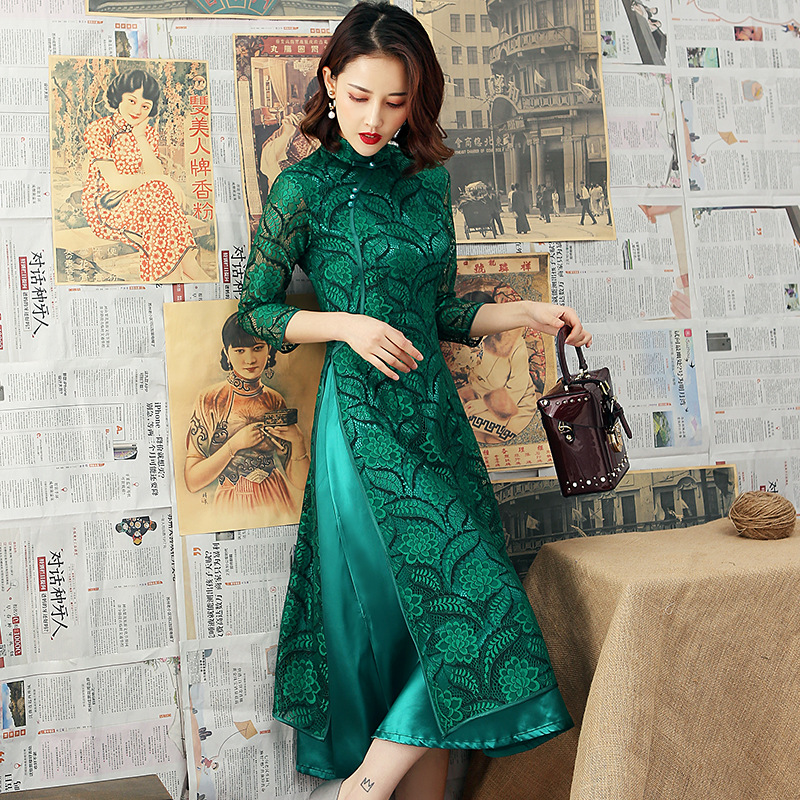 Green Fashion Lace Mandarin Collar Aodai Qipao Chinese Traditional Women Dress Vintage Lady Sexy Embroidery Cheongsam