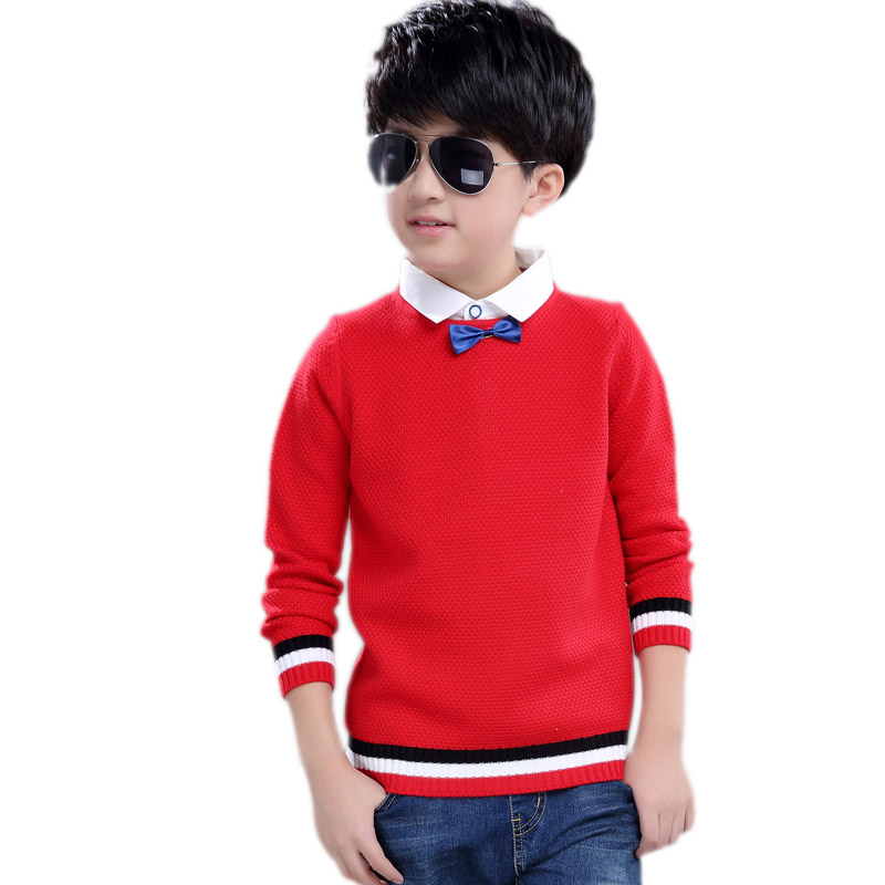 teenager boys clothes 2018 new winter boys sweater solid fake two piece boys sweaters kids bowknot knit pullover sweater 5-11T invisible green simple design pullover knit sweater