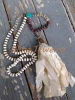 N16040810 Knot White Turquoise Beads Necklace Shabby BoHo Sari Silk Tassel Necklace