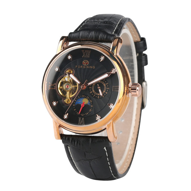 Fashion Clock Mechanical Watch Movement Delicate Leather Mechanical Watches for Women Round Shape Mechanic Watch for Lady | Fotoflaco.net