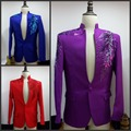 Free shipping mens royal blue/red/purple sequin flower beading embroidery tuxedo jacket/stage performancen this is only jacket