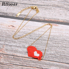 Rttooas Double Lover Heart Pendant Necklace Choker Women Handmade MIYUKI Beads Woven Valentines Day Gift