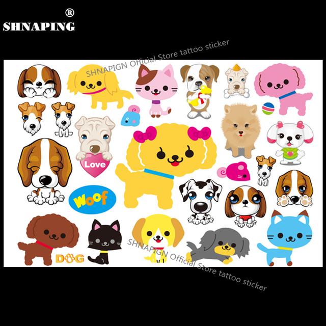 SHNAPIGN Puppy Dogs Child Temporary Tattoo Body Art Flash Tattoo Stickers 17x10cm Waterproof Home Decor Styling Tatoo Sticker