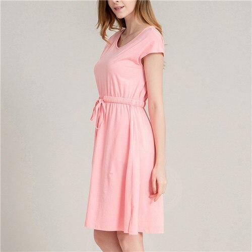 2017 Women Sleep Lounge Nightdress Short Sleeve Elastic Waist Casual Nightgown Pink Home Dress Cotton Sleeping Dress