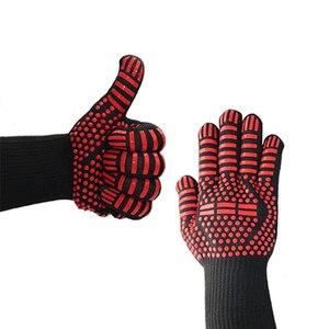 Image 4 - 1 paar Fire Isolatie Veiligheid Handschoenen 500 Celsius Hittebestendige Aramid Handschoen Aramid Grill BBQ Handschoen Oven Keuken Handschoen 4 kleur