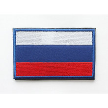 Russian Flag Patch 3D Embroidered Military Flag Badges Applique Stickers for Clothes with Hook&Loop 8*5 CM
