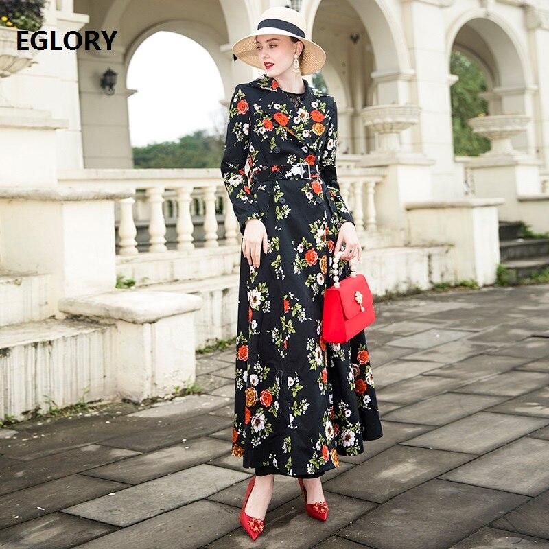 De 2018 Femmes Double Outwear Fleur Femelle Casual Automne Mode Imprimer Boutonnage Manteau Xxxl Hiver Trench Manteaux Vintage qCpBECw