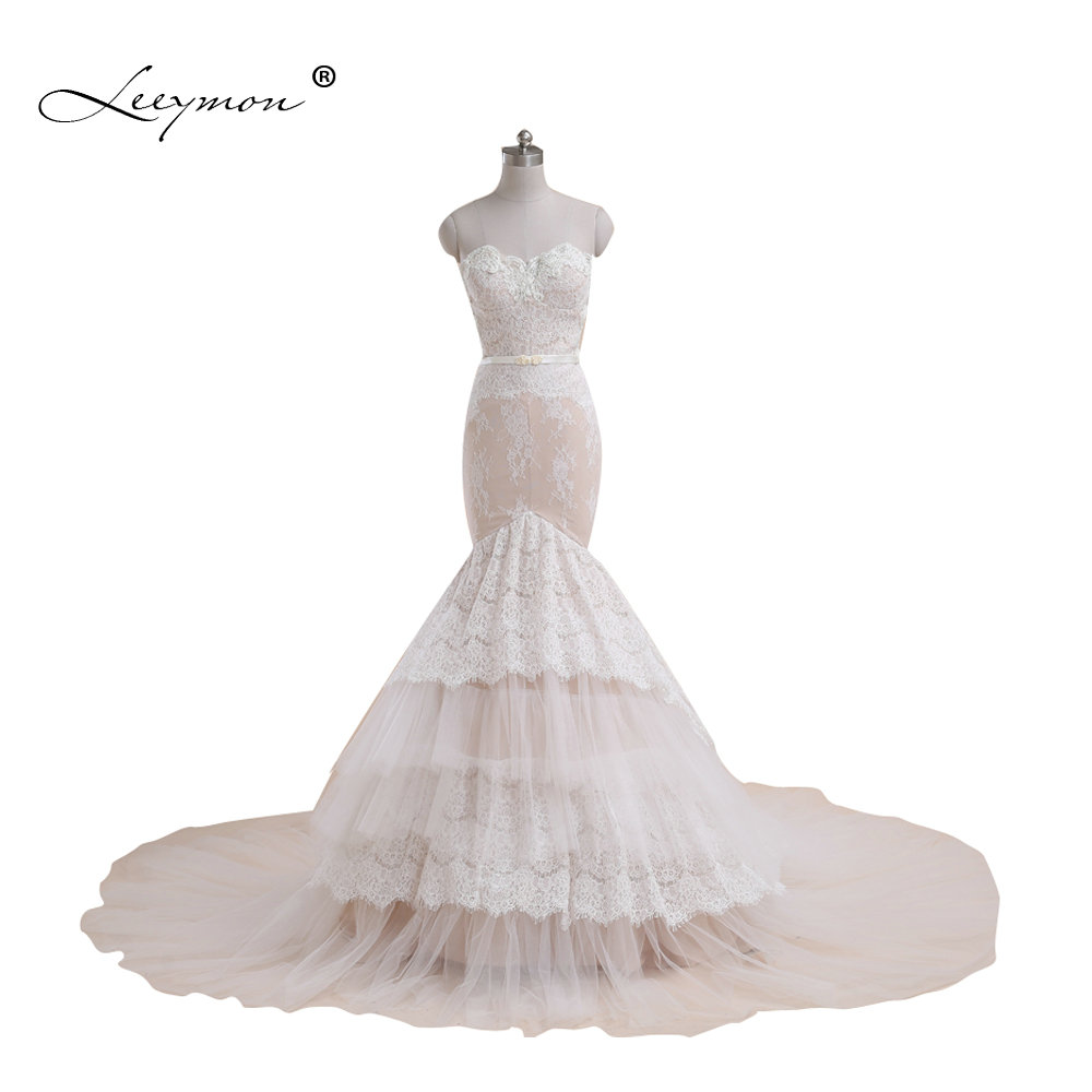 Leeymon Real Samples Sexy Mermaid Wedding Dress Wedding Gown Nude Lining Ivory Lace Bridal Dress Customize A321