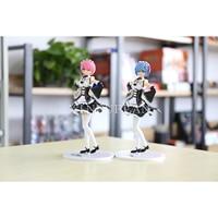 XINDUPLAN Re Zero kara Hajimeru Isekai Seikatsu Rem Ram Maid Uniform Anime Action Figure Toys 19cm 1PCS PVC Collect Model 0776