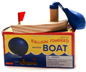 Free Ship Teenage Children Kids Scientific Science Educational Models Experimental Toys Materials Balloon Powered Wooden Boat