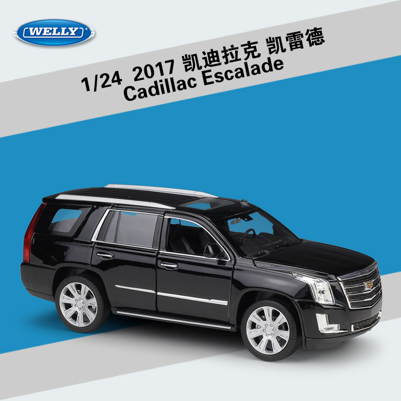 1:24 WELLY Simulator Alloy 2017 Cadillac Escalade Diecast Model Car SUV Metal Toy Car Toys For Kids Gift Collection Decoration
