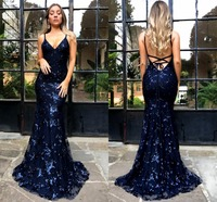 2019 Sexy Navy Blue/Silver V Neck Mermaid Sequin Dresses Maxi Party Dress Vestidos Long Cross Straps Back Prom Evening Gonws