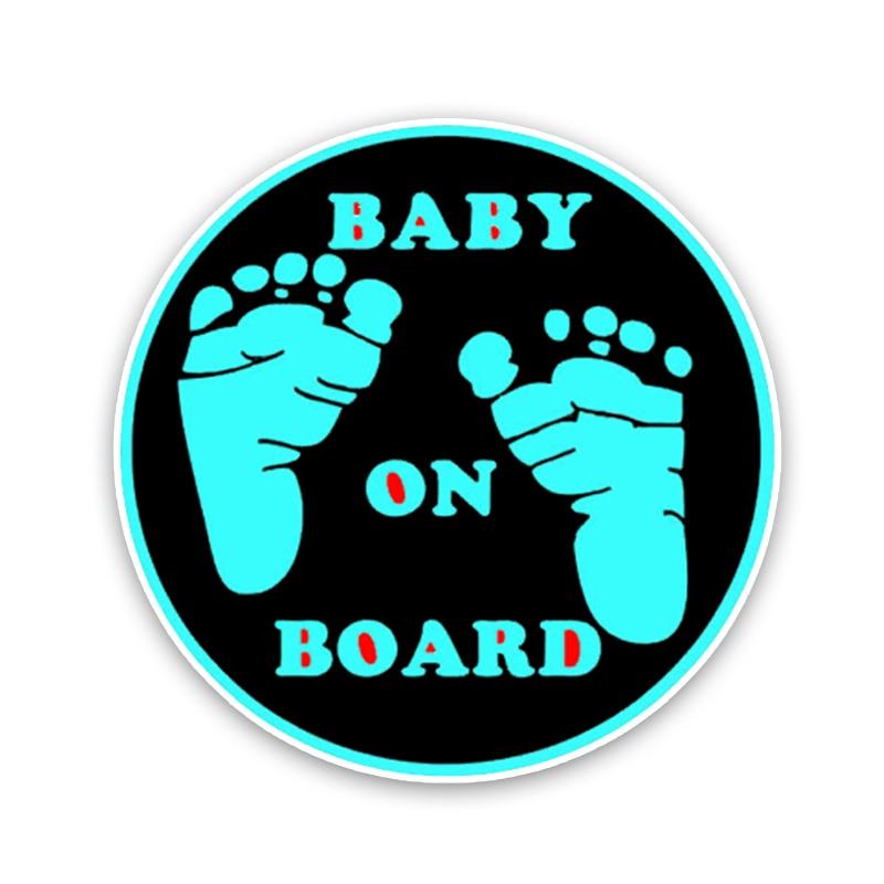 YJZT 12.9*12.9CM Warning Car Sticker Foot Baby On Board Cartoon Graphic Colored Decoration C1-5512