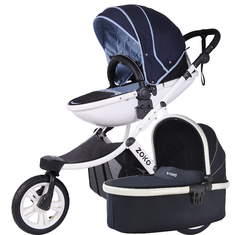 High-view 3 Wheels Baby Stroller, Bi-direction & Folding Pushchair with Aluminum Alloy Frame, Big Wheels Baby Pram baby stroller with cute ceiling swivel wheel pushchair wide seat deluxe high view traveling trolly with snack tray