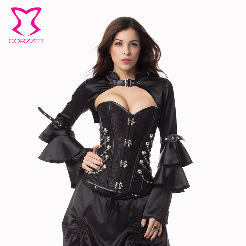 Corzzet Black Brocade Steampunk Corsets And Bustiers Steel Boned Hot font b Shaper b font Body