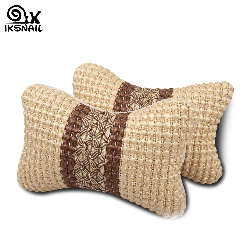 IKSNAIL New Universal Headrest Car Neck Pillow Ice Silk Car Bone Rest Cushion Small Head Pillow For Car Interior Accessories