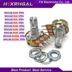 5 piezas WH148 B1K B2K B5K B10K B20K B50K B100K B500K 3Pin eje de 15mm amplificador estéreo Dual potenciómetro 1K 2K 5K 10K 50K 100K 500K