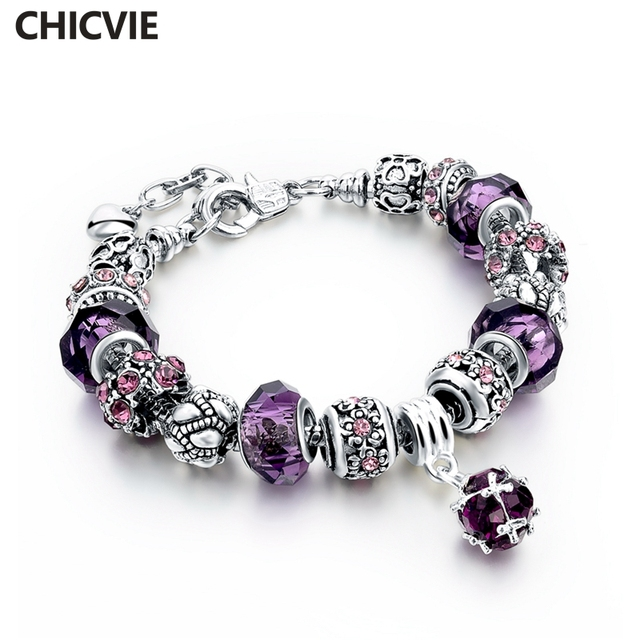 Chicvie Purple Crystal Beads Diy Charm Bracelet Femme For Women S Vintage Bracelets With Stone Silver