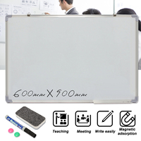 Kicute 600x900MM Magnetic Whiteboard Writing Board Double Side With Pen Erase Magnets Buttons For Office School