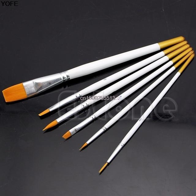 Nuevo 6 piezas cepillo de pintura profesional de pelo de Nylon cepillo de pintura acuarela aceites acrílicos
