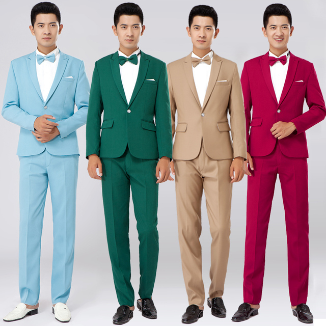 The new men\'s suit many color Korea style silm the groom wedding ...