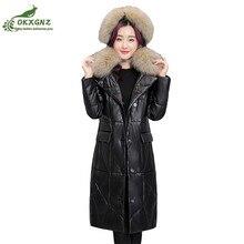Winter new women leather coat hooded Down cotton Outerwear women large size long Thickening warm Jacket coat clothing OKXGNZ