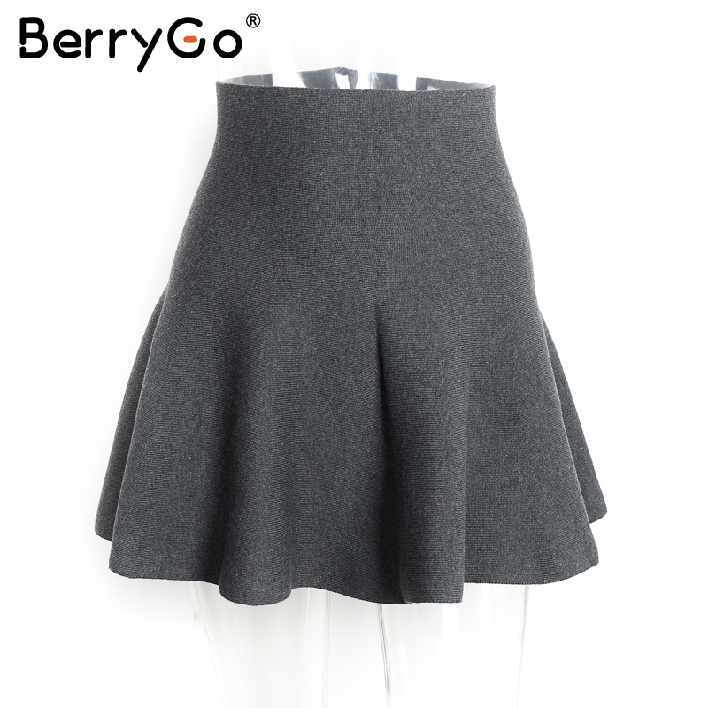 Image 5 - BerryGo Draped pleated knitted mini skirts Women winter elegant short skirt High waist skirts female 2018-in Skirts from Women's Clothing