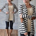 Fashion Women White Black Striped Outerwear Casual Loose Long Sleeve Elbow Patchwork Sweater
