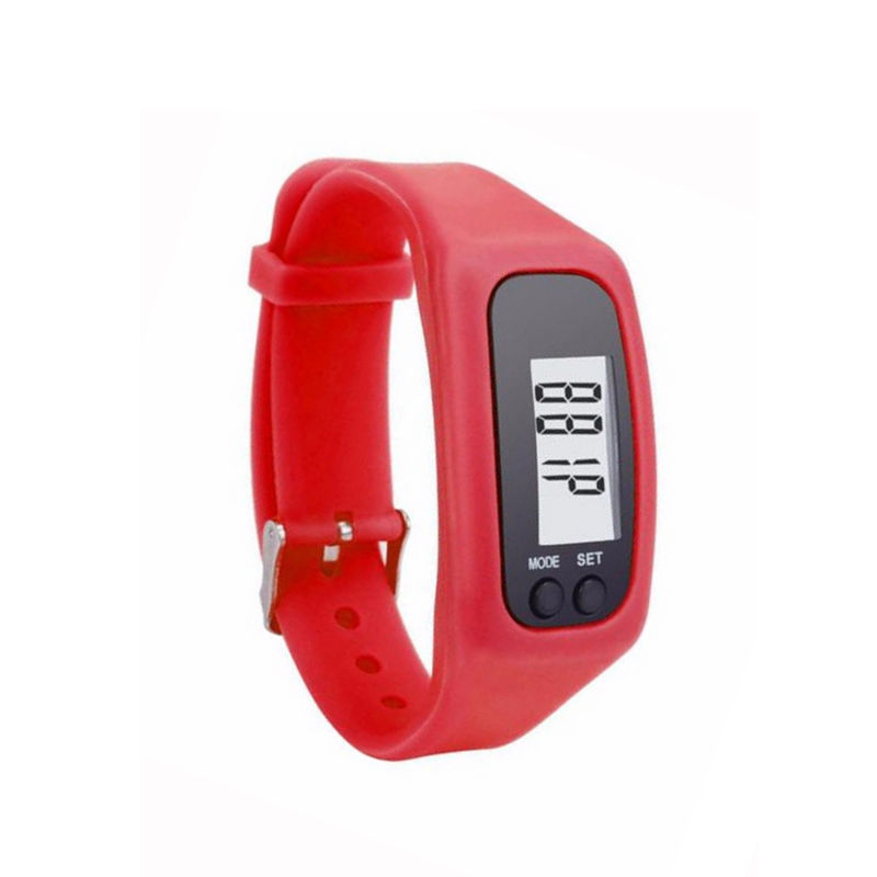 LumiParty Pedometer Silicone Running Watch Multi-functional Electronic Sports Bracelet with LCD Display Screen