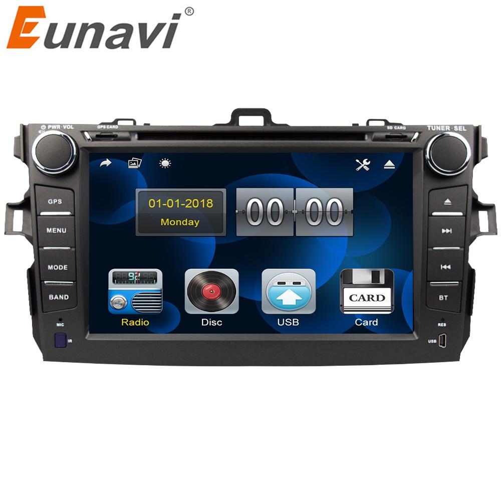 Eunavi 2 din lecteur dvd de voiture autoradio 2din voiture gps navigation pour Toyota Corolla 2007 2008 2009 2010 2011 8 pouces autoradio BT