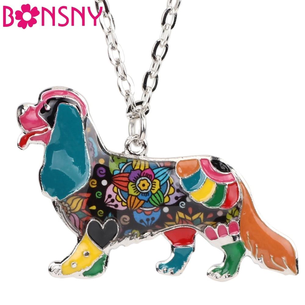 Bonsny Emaille Alloy Cavalier King Charles Spaniel Hund Halskette Anhänger Kette Kragen Neuheit Tier Schmuck Für Frauen Mädchen Geschenke