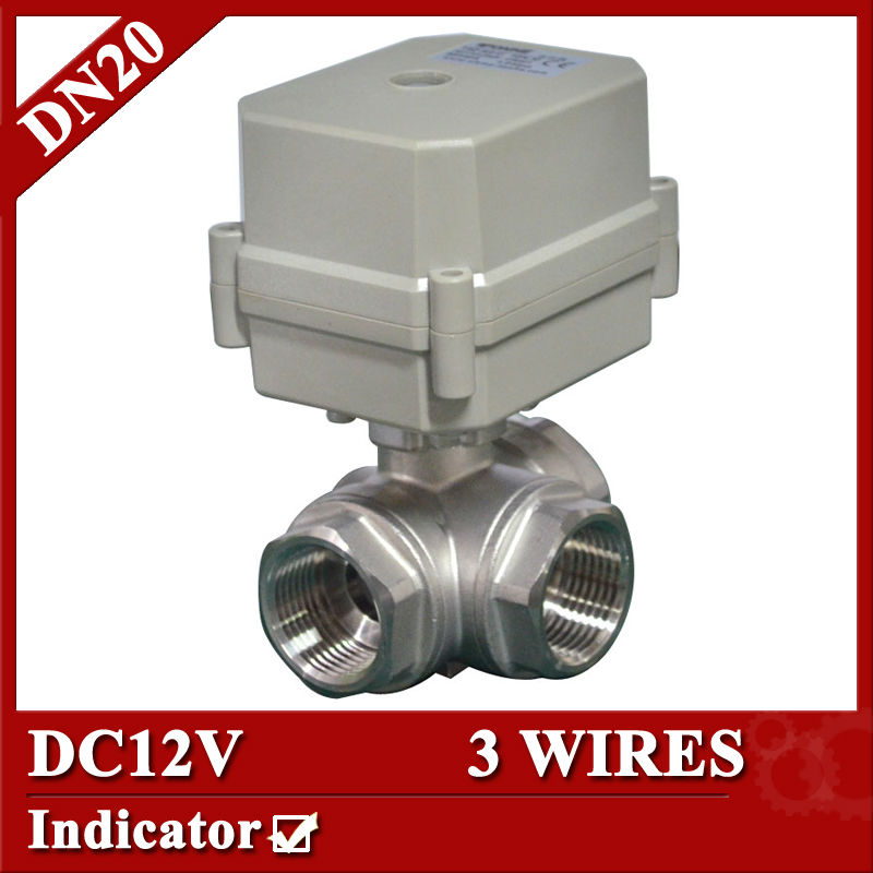 3/4'' DC12V L type electrical three way valve 10Nm,3 wires for water heater water treatment water valve electric dc12v brass 1 3 wires or normal closed wires for fan coil heating water treatment