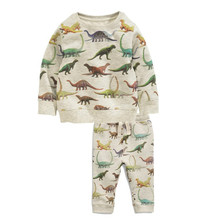 Jumping Meters brand Children cotton Boy Clothing Sets autumn spring printed dinosaur Christmas baby suits for boys 2-7T