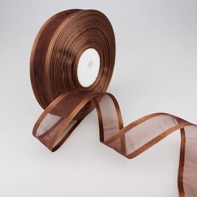 (50 ярдов/партия) 1′ (25 мм) глубокий кофе цвет Broadside органза ленты оптовая/подарок на день рождения упаковка украшения ленты